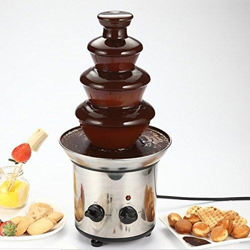 Sorliva Chocolate Fountain,4 Tiers Mini Stainless Steel Fondue Waterfall Melting Machine Kitchen Appliance