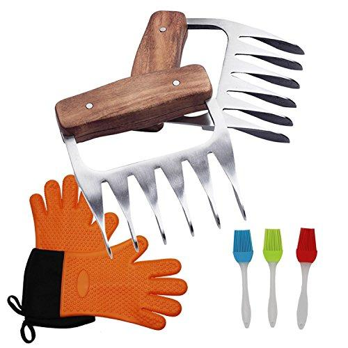 Sougem Best BBQ Tools Set, Food Grade Stainless Steel Claws, Silicone Heat Insulation Five Finger Gloves and 3 Silicone Brushes, Super Value Set, Suitable for Indoor Cooking and Outdoor Barbecue.