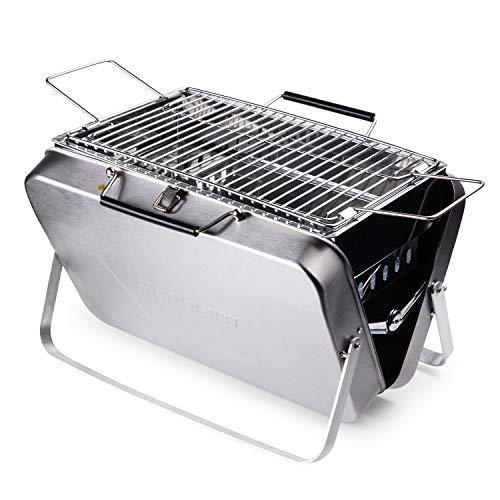 Sougem Charcoal Grill Portable Stainless Steel Folding Barbecue Grill,Small Size