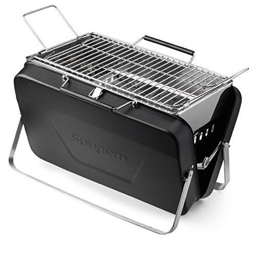 Sougem Charcoal Grill Portable Stainless Steel Folding Barbecue Grill,Small Size,Black