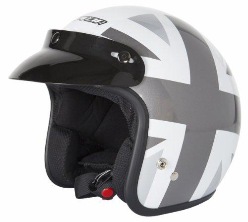 SPADA NINETY2 BRIT OPEN FACE MOTORCYCLE HELMET WHITE/SILVER X-SMALL
