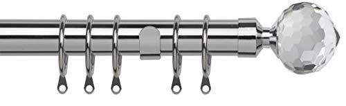 Speedy 25-28mm Pristine Crystal Extendable Complete Curtain Pole Set, Chrome, 170-300cm