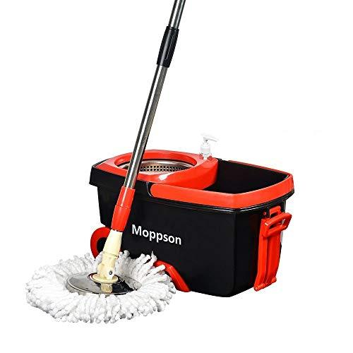 Spin Mop Bucket System - Moppson Stainless Steel 360 Spin Mop with Extended EasyPress Handle and 2 Microfiber Mop Heads,Bucket with Wheels and EasyWring Dryer Basket for Home Kitchen Floor Cleaning
