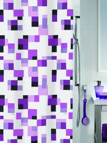 Spirella Pixel Purple Pearl Effect Textile Polyester Shower Curtain, 120 x 200 cm, White/Purple/Lilac/Pink/Black