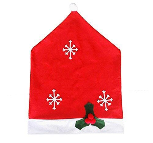 SPIRITUP Santa Claus Hat Snow Chair Covers Seat Slipcovers for Christmas Dinner Party Decorations, Set of 4
