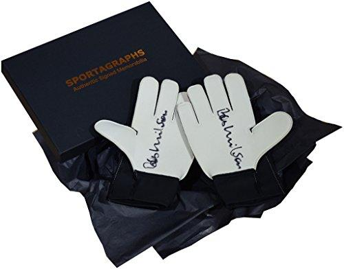 Sportagraphs Bob Wilson SIGNED Pair Goalkeeper Gloves Autograph Gift Box Arsenal PROOF COA PERFECT GIFT