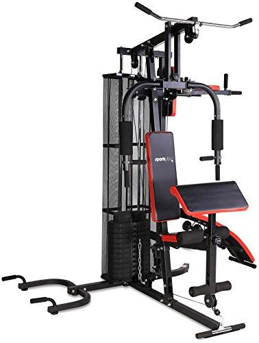 SportPlus Multi Gym, Home Gym for home use including 55kg weight plates, leg extension, crunchies, bicep curl, butterfly, lat pull, leg curl, leg kicks, rowing pull & more, Safety tested