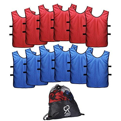 SportsRepublik Football Bibs for Juniors and Adults (12-Pack) | Perfect for Netball, Rugby or Football Training | Last Longer and Look Cooler | Training Bibs for Boys and Girls