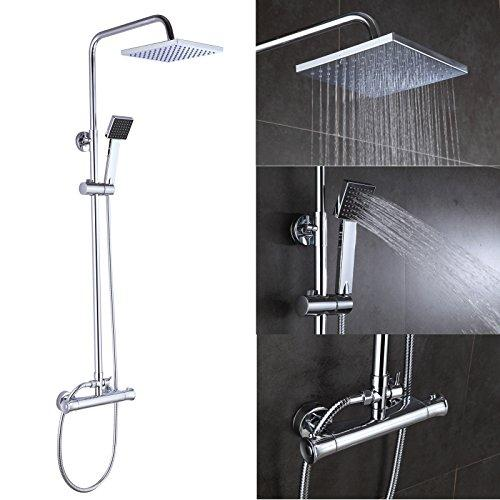 "Square Twin Head Shower Mixer Chrome Polished Brass Thermostatic Valve + 8"" Rainfall + Handset Combo Bathroom System Set"