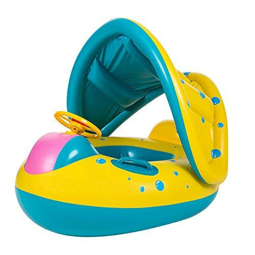 SQZW Baby Pool Float, Baby Inflatable Float Swimming Ring with Adjustable Sunshade Canopy Safety Seat