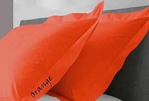 "SRP Linen 550-Thread-Count Super Soft 2-Pieces Egyptian Cotton Luxury Oxford Pillow Cases Standard Size 20"" x 26""(Inches) Orange Solid"