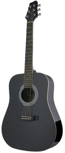 Stagg SW201 3/4 LH BK Dreadnought 3/4 Model Left Handed Acoustic Guitar - Black