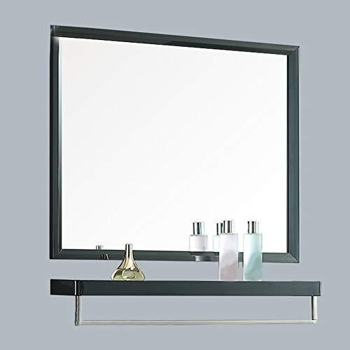 Stainless steel bathroom mirror Bright black bathroom wall hanging mirror with shelf side cabinet side cabinet Wall-mounted Bathroom Mirror Cabinet Locker Vanity Mirror Cabinet