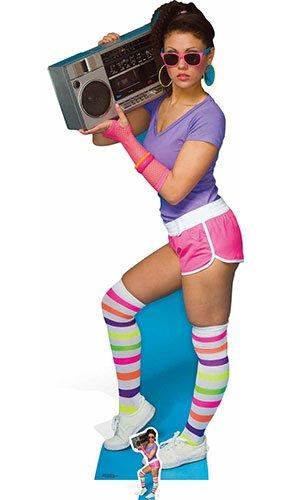 STAR CUTOUTS 80's Neon Boombox Girl, Cardboard, Multi-Colour, 177 x 73 x 177 cm