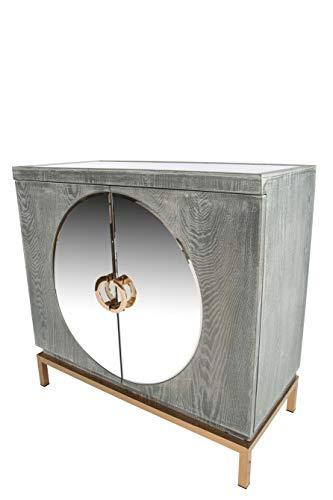 Statements by J Darrius Accent Cabinet, Gold, 32.5 Inch Tall, wood, glass Gray