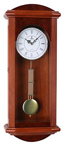 Stay fresh Best Pendulum Wall Clock, Silent Decorative Wood Clock Swinging Pendulum, Battery Operated, Large Red Wooden Design Living Room, Kitchen, Office & Home Décor, 26.75 x 11.5 inches