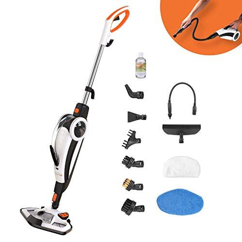 Steam Cleaner, TACKLIFE 1400W 2-Mode Steam Mop, 12 Pieces Set Corded-Electric 7 in 1 Mop Cleaner for Mopping & Handheld, Multifuction for Floor Mop, Window Cleaner, Carpet and Clothing Cleaning-HSM01A