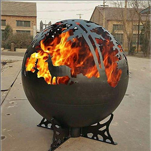 Steel Fire Globe / Fire Pit Bowl / Fire Ball - Features Deer and Woodland Design Silhouette