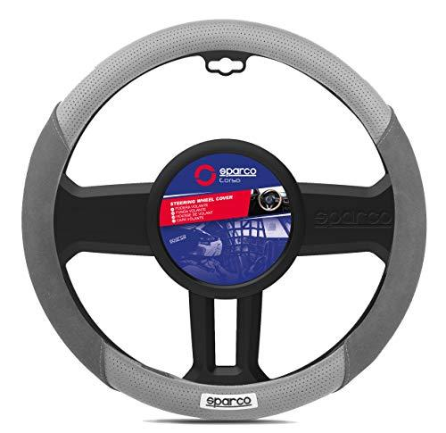 Steering wheel cover in imitation suede. Gray
