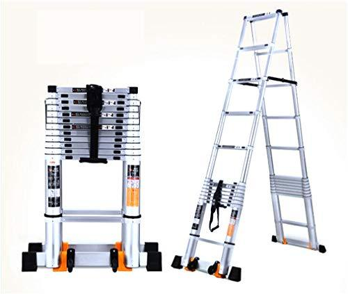 Step Stool Telescopic Ladder, Trapezoidal/extension Ladder Aluminum Alloy Portable Multi-function Folding A-frame Home Loft Office Stool 3.8+3.8m
