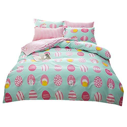 Sticker superb Easter Day Rabbit Chicken Pink Duvet Cover Set with Pillow Case, Toddler Baby Romantic Egg Bedding Set Microfiber Polyester (Happy Easter, Double 200x200cm- 4 Pieces)