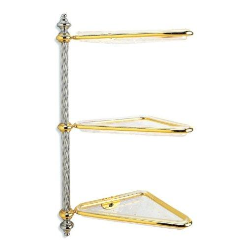 Stilhaus Hanging Angolo 3 Floors Iani Chrome Gold 000G69302 Italian Bathroom Accessory Set
