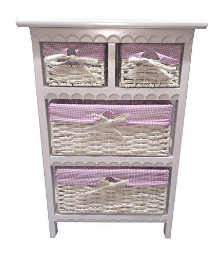 Storage Unit 4 Drawer Wooden Wicker Baskets White Cabinet Furniture Bathroom (White with Pink Linen)