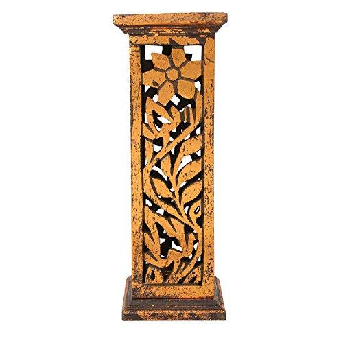 Store Indya Hand Carved Wooden Incense Stick Burner Tower Stand Holder Ash Catcher Floral Design Home Fragrance Accessories