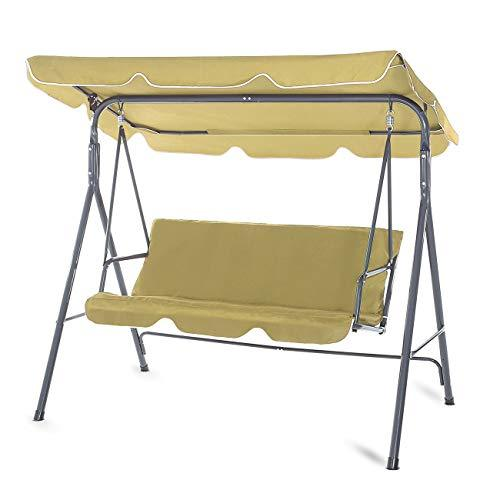 Strattore Garden Hammock Swing Chair 3 Seater Patio Cushioned Bench Bed Seat with Canopy Outdoor - Olive