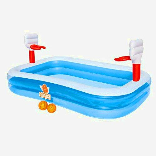 STS SUPPLIES LTD Basketball Paddling Pool Inflatable Toys Big Fun Kids 8FT for Children Large Activity Play Centre Durable Sandpit &E Book