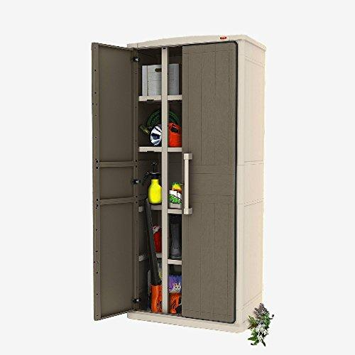 STS SUPPLIES LTD Cupboard Storage Unit Large Cabinet Box Plastic Shed Garden Containers Indoor External Tall Lockable Garage Utility Heavy Duty Shelving Lockable Furniture Tool Weatherproof &E Book