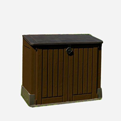 STS SUPPLIES LTD Lockable Storage Box Garden Shed Unit Plastic Brown Tools Containers Outdoor External Outside Bike Garage Utility Heavy Duty Bicycle Furniture Weatherproof &E Book