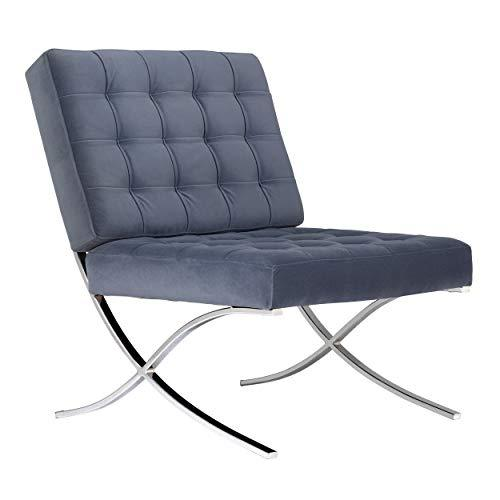 "Studio Designs Home 33"" W Atrium Velvet Modern Accent Chair, Chrome Guest Seating for Living Room or Office, Polyester Fabric in Slate Blue, Metal"