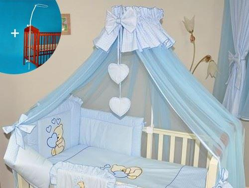 Stunning Baby Canopy/Mosquito Net for Cot + Fitting/Holder - Blue Hearts