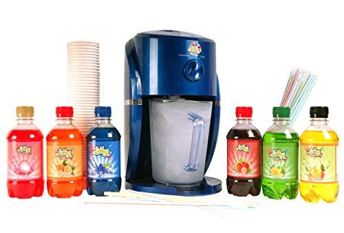 Stunning Blue Party Snow Cone Maker Frozen Ice Shaver with 6 Different Flavours of Slush Puppy Style Ice Drink Syrups, Cups and Straws