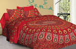 Stylo Culture Cotton Ethnic Mandala Duvet Cover Set With Pillow Covers Double Queen 200x220 Red Yellow Boho Peacock Feather Floral Patterned Printed Home Decor For Adults Kids Quilt Comforter Cover