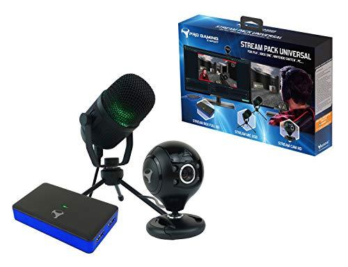 Subsonic - Stream Pack accessories for gamers and youtubers with Full HD video capture box, cardioid condenser microphone and repositionable HD camera - Compatible with : Playstation 4 console - PS4 Slim - PS4 Pro - Xbox One - Xbox One X - Nintendo Switc