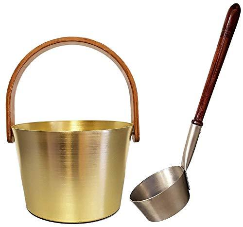 Sudorewell® Sauna Pouring Bucket 5,0 L Aluminium (Champagne) plus Sauna Ladle (Champagne) with Wooden Handle