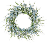 "Sullivan's 24"" Artificial Blue Mum & Heather Flower Wreath"