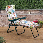 Sun Lounger - Green Frame with Classic Alexandra Beige Leaf Cushion