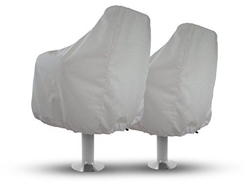 Sun-Protect Marine Canvas Set of 2 Universal Boat Seat/Captain's Chair Marine Cover (White), Boat Seat Covers, Boat Covers, BEST VALUE!