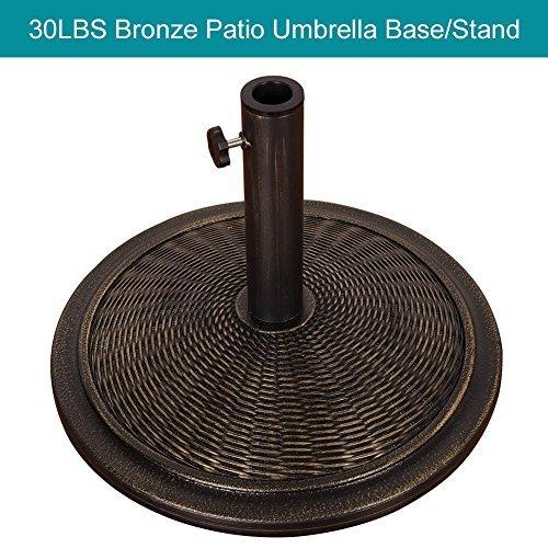 Sundale Outdoor Universal Cement Patio Umbrella Base Heavy Duty Umbrella Stand in Classic Wicker Rattan Pattern, Antique Bronze Finish, 18.9-in Diameter, 30 lbs