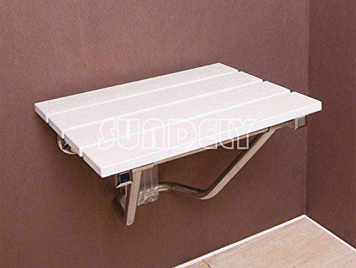 SUNDELY® Wall Mounted Wooden Folding Bath Shower Spa Seat Bench Stool Foldaway Disabled Mobility (Supports Weight up to 25stone / 160kgs)