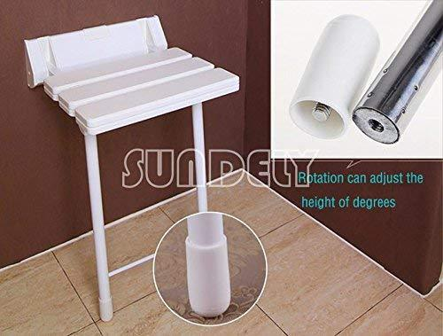 SUNDELY® White Colour ABS Plastic Wall Mounted Folding Adjustable Shower Seat Bathroom Stool with Drop Down Metal Legs (Supports up to 180kgs / 28.3st / 396.8lbs)