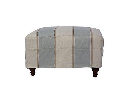 Sunset Trading SU-116430-479541 Seacoast Slipcovered Ottoman Blue and Off White