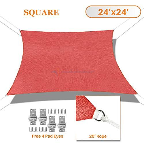 Sunshades Depot 24' x 24' Sun Shade Sail Rctangle Permeable Canopy Rust Red Custom Size Available Commercial Standard 180 GSM HDPE