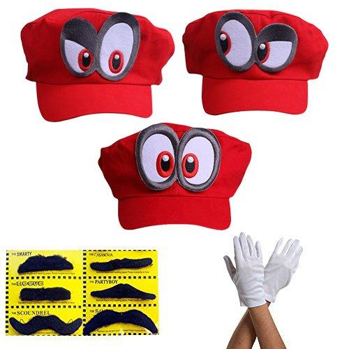 Super Mario Odyssey 3x Hat - Set of 3x Gloves and 6x Sticky Beard Costume for Adults & Kids - Perfect for Carnival & Cosplay