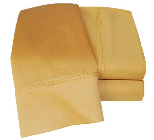 Superior 1000 Thread Count Deep Pocket and Wrinkle Resistant 4-Piece Bed Sheet Set, Cotton Blend, Double, Gold