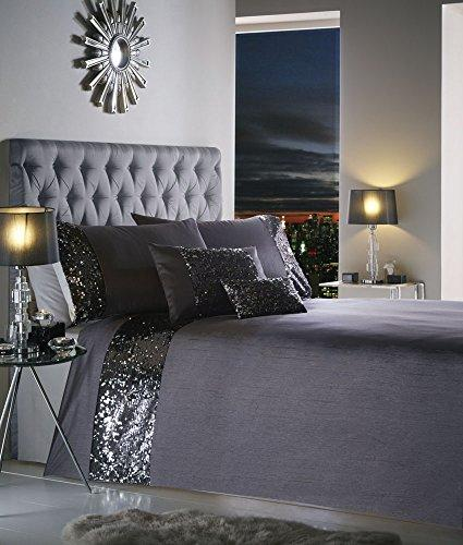 SUPERKING DUVET SET Charcoal & silver sequin superking size quilt cover set (Duvet Set (cover/pillowcases))