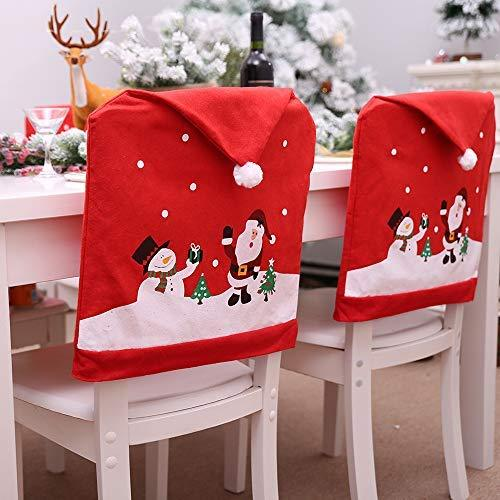 SUPOW 8 PCS Christmas Santa Claus & Snowman Red Hat Chair Cover, Xmas Kitchen Hat Slipcovers for Festive Decorations.(8)
